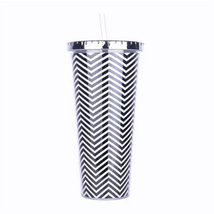 Tall Tumbler-Cup With Lid & Straw