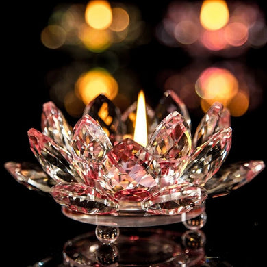 Lotus Flower Crystal Candle Tea Light Holder