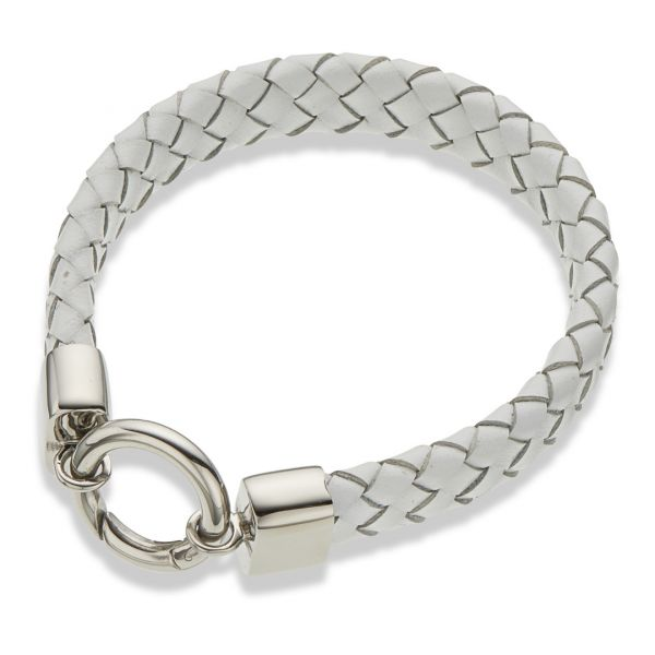 Palas Jewellery  White Leather Wide Bracelet Wide