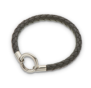 Palas Jewellery Black round thick plaited leather bracelet