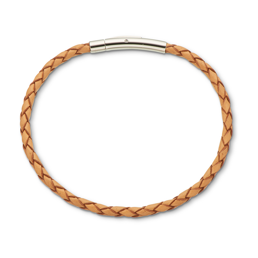 Palas Jewellery Fine Leather Plaited Bracelet 19cm-Natural