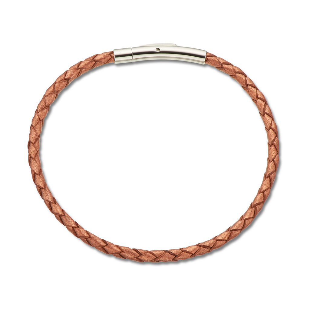 Palas Jewellery Copper Fine Leather Plaited Bracelet 19cm
