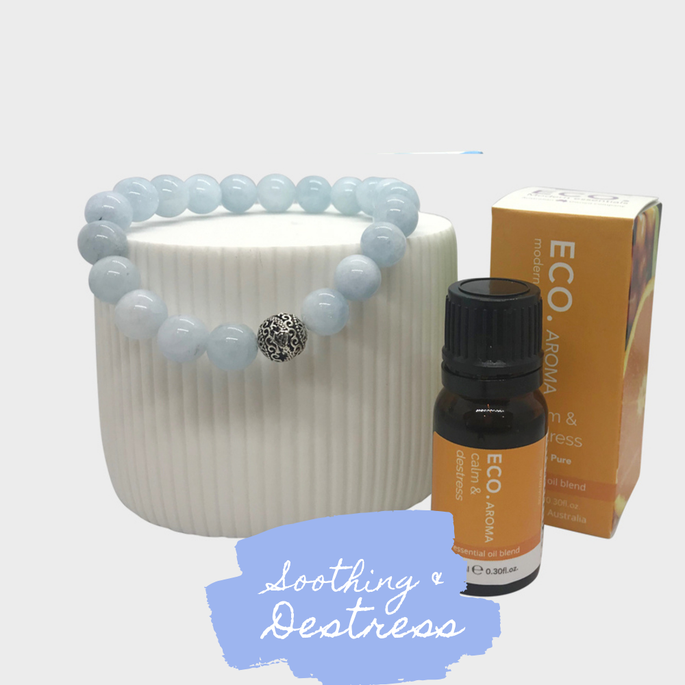 Soothing & Destress Aquamarine Crystal Bracelt and Essential Oil Gift Set
