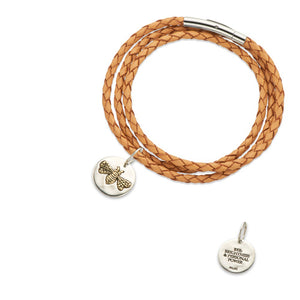 Palas Jewellery Natural Fine Leather Plaited Wrap Bracelet