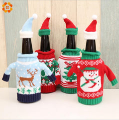 1set 2pcs Christmas Bottle Sets Snowman/Deer/Santa Claus Wine Bottle Cover Holders for Christmas Party/Table Decoration Supplies