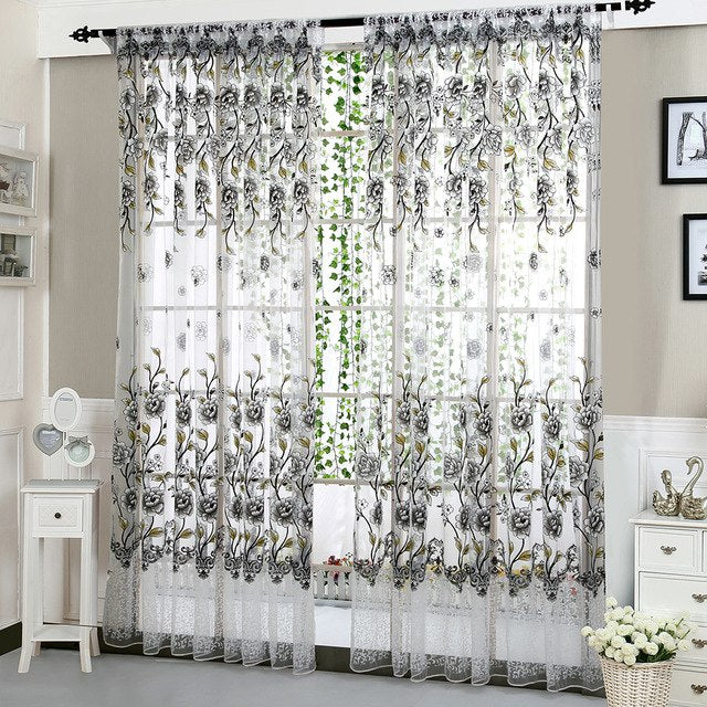 Peony Tulle Curtains for Living Room Bedroom Home Door Window Curtains Decorative Window Screen Kids Drapes