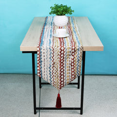 American Style Table Cloth Runner Dinner Party Wedding Decoration Jacquard Stripes Table Runner Cloth Cover