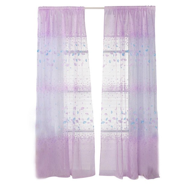 Floral Tulle Curtains Window Screening Ginkgo Biloba Blackout Curtains For Living Room Kids Room Balcony Decoration Drape