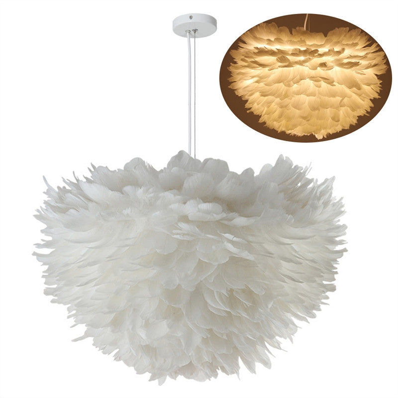 7W Contemporary Pendant Ceiling Lamp Lampshade White Feather Ceiling Light for Home Living Room Decoration