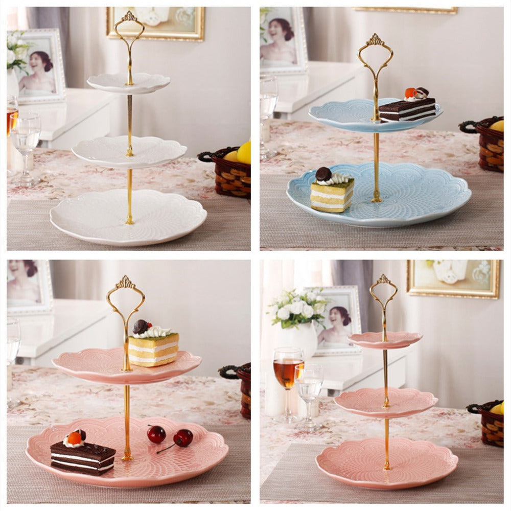3 Tier bakeware Cake Plate Stand Handle Crown Fitting Metal Wedding Party Golden kitchen accessories cake decorating tools