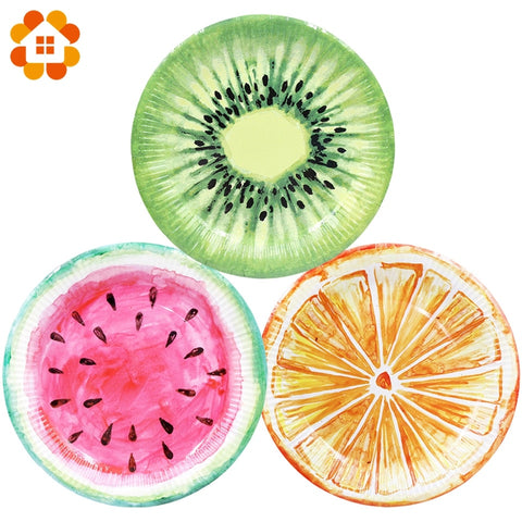 6pcs/lot Lifelike Fruits Series Disposable Tableware Plate Paper Material Party Supplies Wedding Birthday Pool Party Decoration