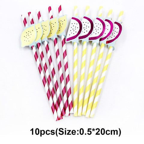 Lovely Fruits Series Disposable Cartoon Banner Paper Straws Cup Plate Party Supplies Wedding Birthday Pool DIY Party Decoration