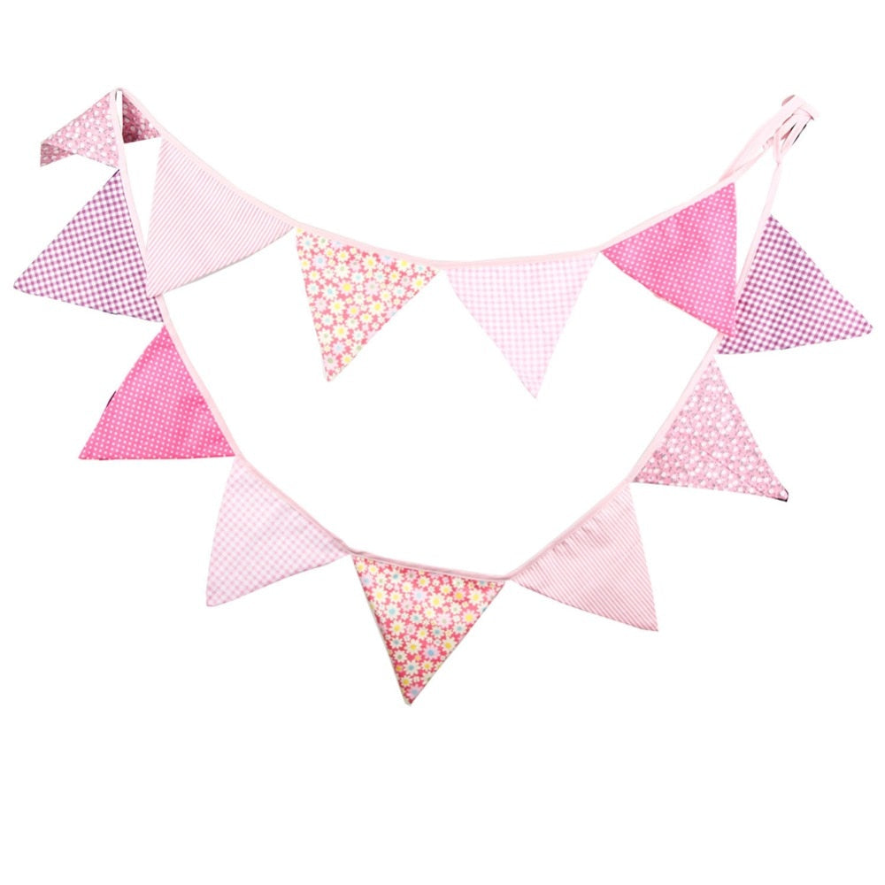 3.2M 12 Flags Pink Cotton Fabric Bunting Party Banners DIY Garland Rustic Wedding Decoration Birthday Party Supplies