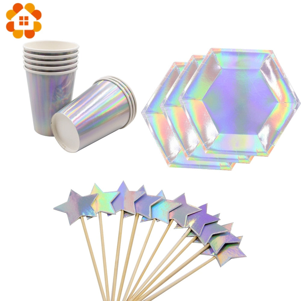 1Set Laser Disposable Tableware Sets Bling Paper Straw Party Cup Plate Party Tableware for Wedding Decor Birthday Party Supplies