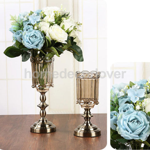 European Style Vintage Clear Glass Artifical Flower Arrangement Vase Holder Table Center Piece Decor