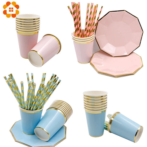 1Set Baby Pink/Blue Disposable Tableware Set Paper Cup/Plate/Straws Table Decoration For Baby Shower Birthday Party Supplies