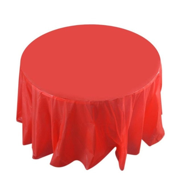 84inch Round Tablecloth Cover Waterproof Oilproof Plastic Table Cloth Wedding Party Camp Dinner Banquet Restaurant Decoration
