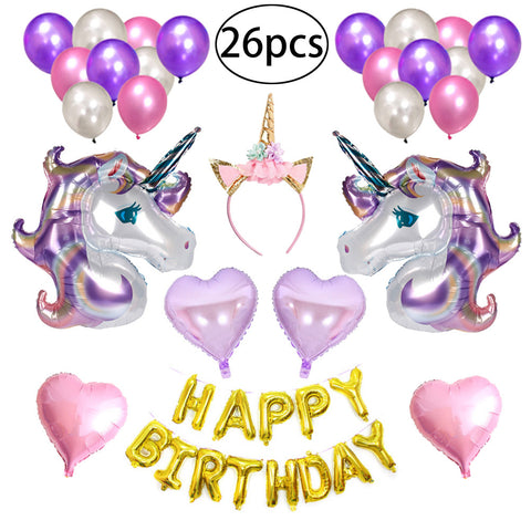 26pcs Happy Birthday Unicorn Balloons Banner Set Drcorative Unicorn Balloons Kit Birthday Party Supplies