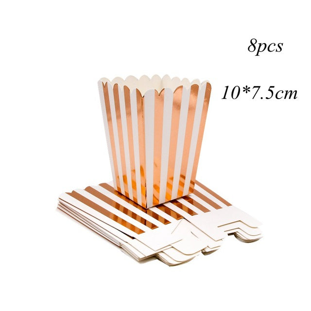 Rose Gold Series Disposable Tableware Gilding Paper Straws/Cup/Plate/ Party Supplies Wedding/Birthday/ Pool Party Decoration