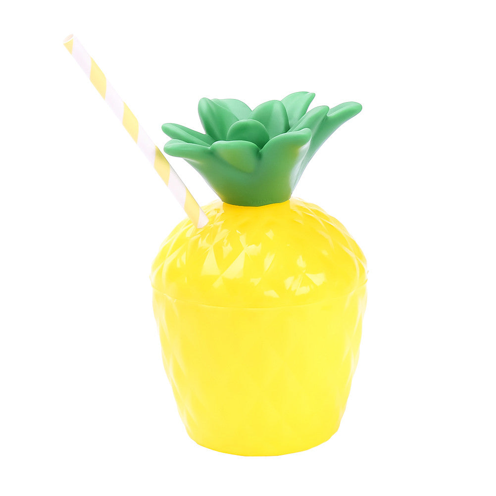 Pineapple Drink Cups Tropical Party PE Cups Supplies for Luau Party Beach Theme Party (with Straw)