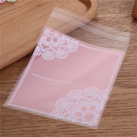 100PCS Self Adhesive Cello Cellophane Bags Biscuit Party Gift Bags