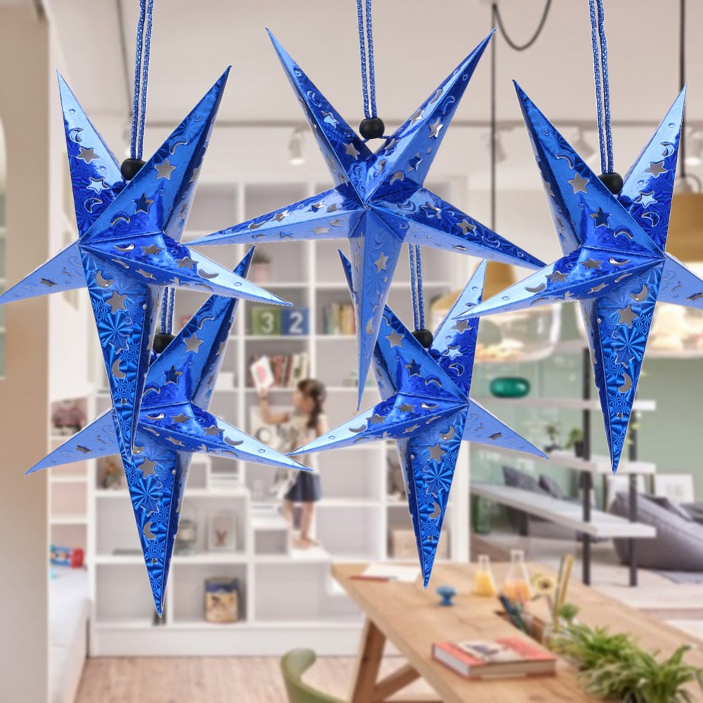 6pcs Christmas Tree Decorations Christmas Decoration for Tree Ceiling String Hanging Star New Year Christmas Ornaments