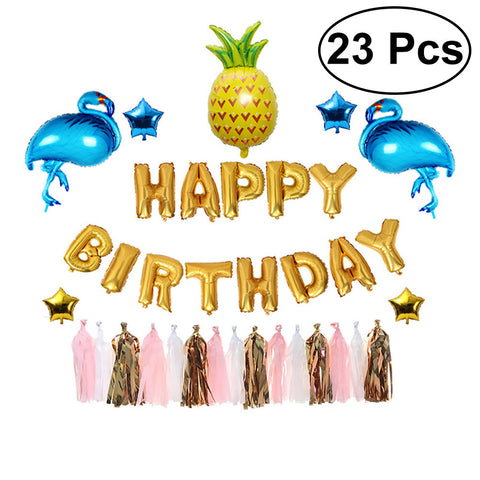 23pcs Summer Birthday Party Decorations Kit Pineapple Flamingo Party Supplies