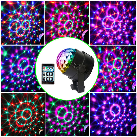 15 Colors Mode Sound Activated Party Lights Disco Ball Projector Home Stage Bar KTV Wedding Show Pub LED Mini Magic Ball Light with Remote Controller
