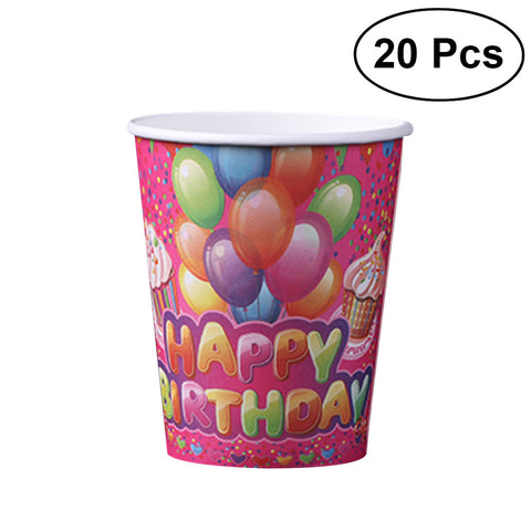 20Pcs Disposable Paper Hot Cold Drink Cups Water Cup Party Supplies for Birthday Wedding Baby Shower 250ml
