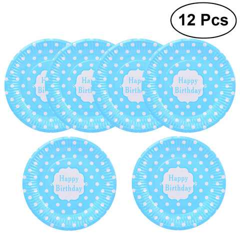 12Pcs 7Inch Disposable Paper Dinner Plates Party Supplies Dot Food Plate for Barbecue Birthday Party Supplies
