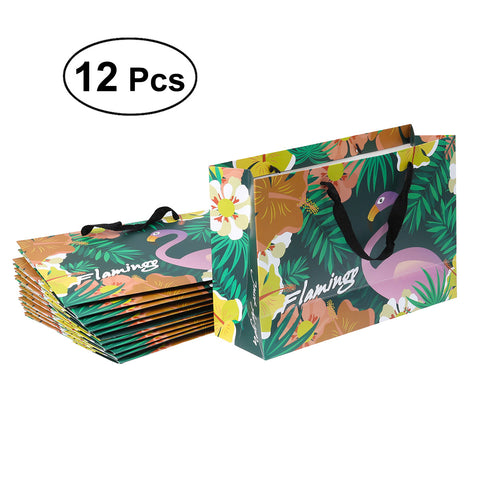 12 Pcs Flamingo Party Favor Bags Paper Gift Bag with Handle for Parties Shopping Wedding Goody