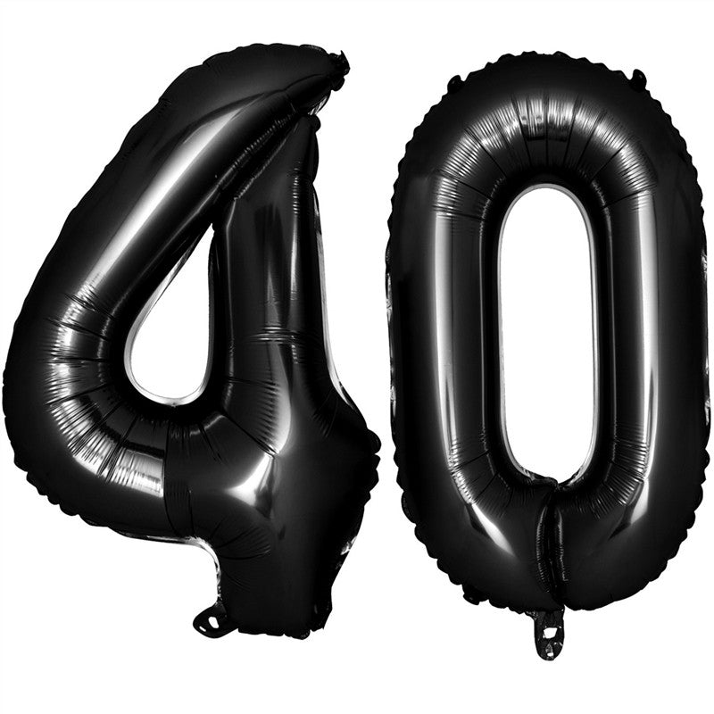 40 Inch Black Balloons for Birthday Party Decoration Jumbo Foil Balloons for 90th Anniversary Party Supplies