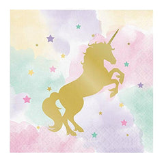 Unicorn Theme Disposable Tableware Sets Party Banner Paper Plates Cups Party Supplies Wedding/Kid Birthday/Pool Party Decoration