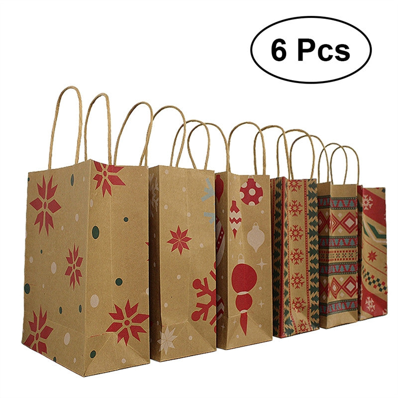 6pcs Kraft Paper Bags with Handle Party Gift Bag Christmas Favor Present Bag Wrapping Bags