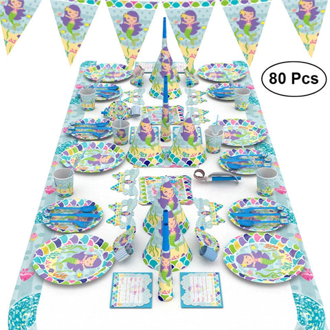 Birthday Party Supplies Cartoon Mermaid Party Kit Party Favors Supplies Decoration Props for Kids