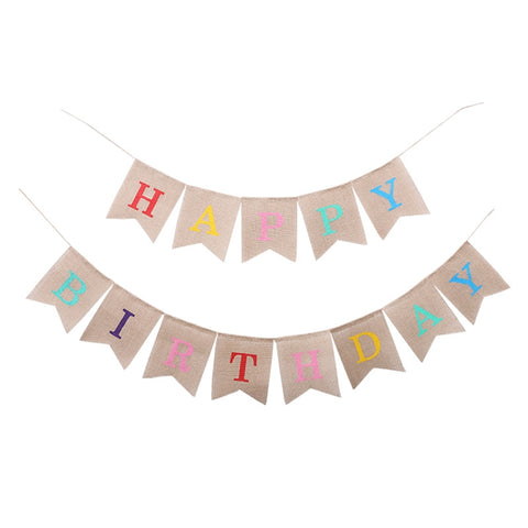 Happy Birthday Letter Hanging Banner Birthday Party Decorations Linen Flags Birthday Decoration Party Supplies (Style A)