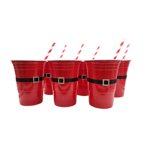 6pcs Red Party Drinking Cups Game Cups for Chrismas Party Holiday Birthday Celebration Jello Shots Fun Drinking Game with Drinking Straws
