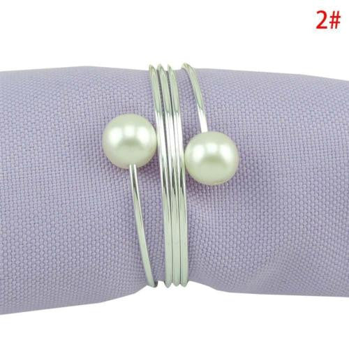 10pcs/lot New Pearl Napkin Buckle, Silver Hoop Hotel Party Table Decoration Napkin Rings, Napkin Circle