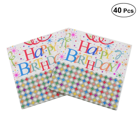 40pcs Colorful HAPPY BIRTHDAY Lunch Napkin Printed Napkin Paper for Birthday Dinner Party Favors Supplies