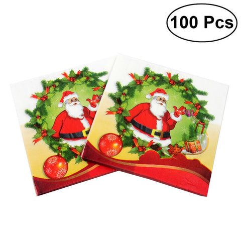 100pcs Christmas Printed Napkin Wood Pulp Happy Santa Claus Pattern Party Napkin Restaurant Decoration