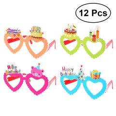 12pcs Children's Fun Birthday Party Glasses Novelty Eyeglasses for Birthday Gift Party Supplies