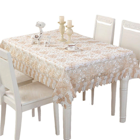 European Lace Fabric Tablecloth Set Christmas Tablecloth Embroidery Jacquard Series, Table Flag Coffee Table Cloth