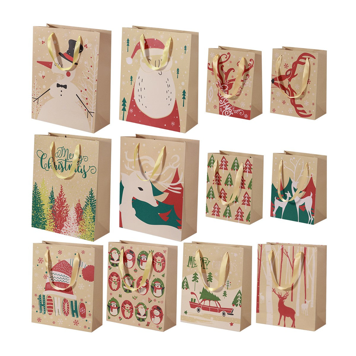 TINKSKY 24pcs Kraft Paper Bags with Handle Party Gift Bag Christmas Favor Present Bag Wrapping Bags