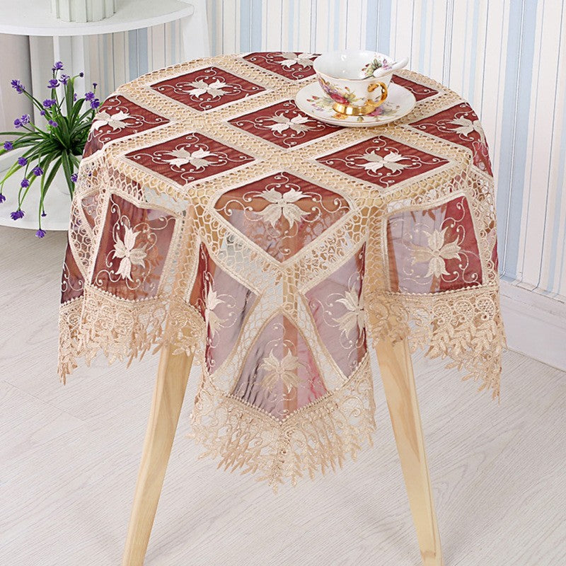 Grid Big Flower European Lace Embroidered Table Cloth Table Flag Tablecloth Set Christmas Tablecloth Jacquard Series
