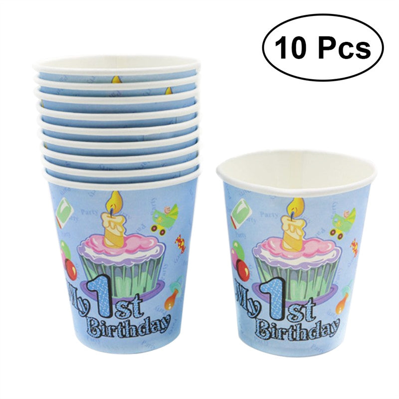 10pcs Cute Pattern Cups Wedding Birthday Party Tableware Disposable Cups Party Supplies (Sky-blue)