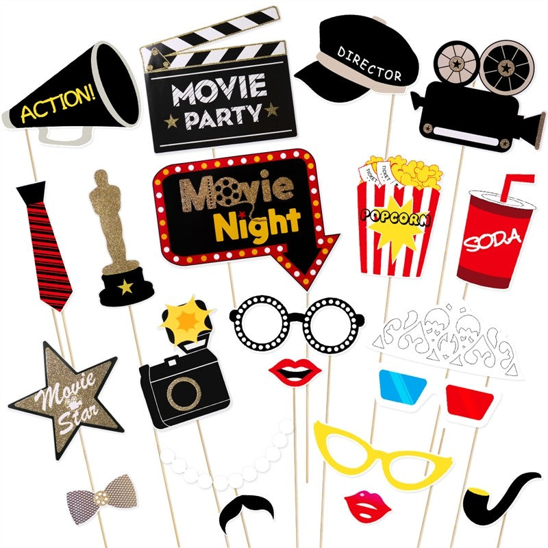 Tinksky 21Pcs Hollywood Style Party Mask Photo Props Bachelorette Party Wedding Decor Mustache Birthday Party Supplies