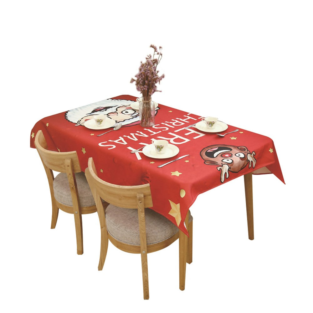 Christmas Table Cloth Dining Table Decoration Home Rectangular Party Table Cover Elk Snowman Tree Christmas Ornament