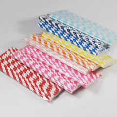 25PCS Colorful Striped Paper Straws For Wedding Birthday Party Supplies