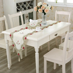 Table Runner Embroidered Floral Lace Fabric Translucent Gauze Table Cloth