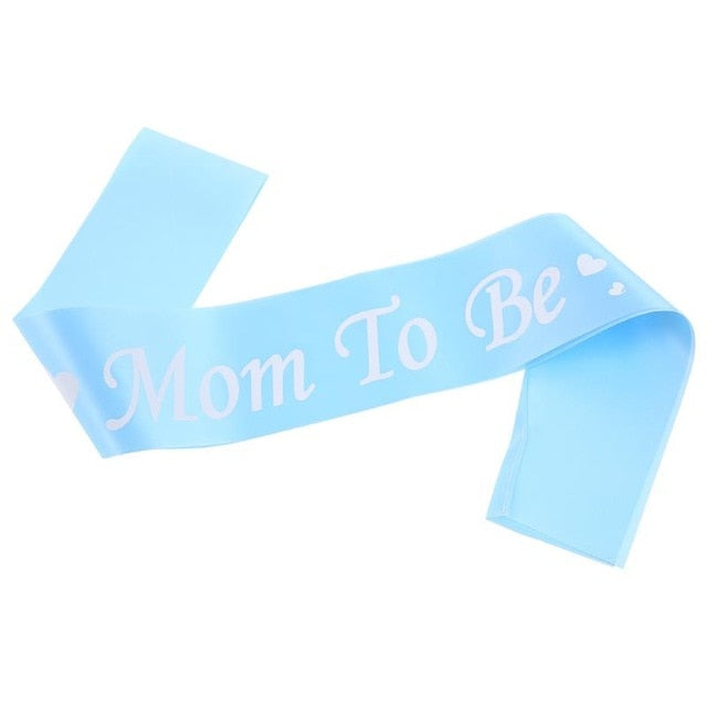 Baby Shower Satin Ribbon Mom To Be Blue Pink Shoulder Strap Mother's Day Party Decoratives Baby Shower Supplies